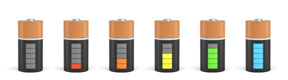 3d rendering of six C type batteries with charge indicators in different stages of energy levels. Maximum charge. Depleted batteries. New and old portable Royalty Free Stock Images