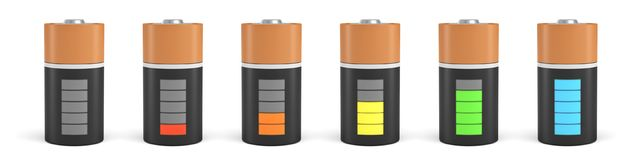 3d rendering of six D type batteries with charge indicators in different stages of energy levels. Maximum charge. Depleted batteries. New and old portable Royalty Free Stock Photography