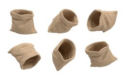 3d rendering of six open hessian money bags flying on a white background with nothing inside. Empty account. Bankruptcy. Ready to earn money royalty free stock photos
