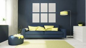 six posters on blue living room Royalty Free Stock Photo