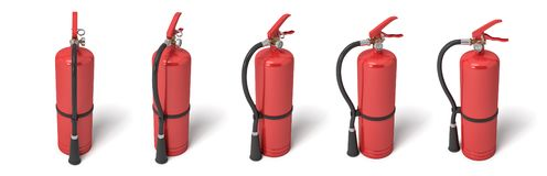 3d rendering of six red fire extinguishers standing on a white background in different angles. vector illustration