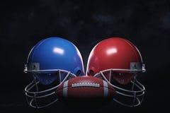 3d rendering skóry balowa pozycja między dwa futbol amerykański hełmami z twarz strażnikami zdjęcie royalty free