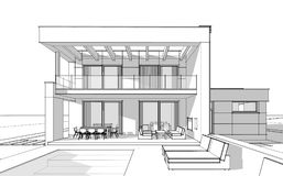 3d rendering sketch of modern cozy house. royalty free illustration