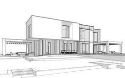 3d rendering sketch of modern house black line on white background stock illustration