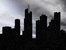 3D rendering of a cityscape in the rain.