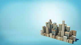 3d rendering of a small  cluster of many tall business buildings as seen from above on blue background. Stock Images