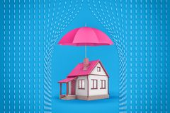 3d rendering of a small family house stands under a large open pink umbrella which protects the house from symbolic royalty free stock image