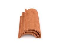 3d rendering of a small group roof tile lying in front view isolated on white background. Roof building. Construction supplies. Traditional building materials Royalty Free Stock Images