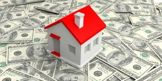 3d rendering small house on100 dollars banknotes. Background Stock Photography