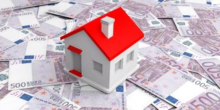 3d rendering small house on 500 euros banknotes Stock Photos