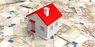 3d rendering small house on 50 euros banknotes Royalty Free Stock Photo
