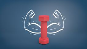 3d rendering of a small red dumbbell stands vertically on a blackboard background with drawn strong arms around it. stock illustration