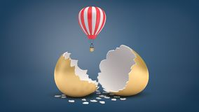 3d rendering of small red and white hot air balloon flies out of a broken golden eggshell. Profitable business idea. Golden goose. Travelling business Stock Photos