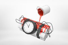 3d rendering of of small silver paint bucket turned upside down with red paint pouring on dynamite stick time bomb royalty free illustration