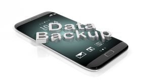 3D rendering of smartphone with Data Backup text Royalty Free Stock Photos
