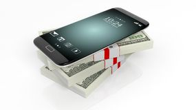 3D rendering of smartphone on 100 Dollar banknotes. Bundles stack,on white stock illustration