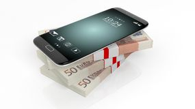 3D rendering of smartphone on 50 Euros Royalty Free Stock Photos