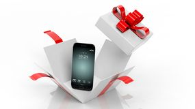 3D rendering of smartphone and opened giftbox with red ribbon Royalty Free Stock Photography