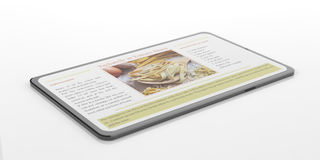3d rendering smartphone with recipe. White background Stock Photography