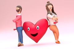 3D rendering of smiley heart shape cartoon holding couple character. 3D rendering of smiley heart shape cartoon holding couple character on pink background royalty free illustration