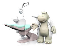 3D rendering of a smiling cartoon hippo dentist Stock Images