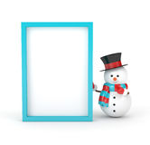 3d rendering of snowman with blank board isolated over white. 3d rendering of snowman holding a blank board  isolated over white background Royalty Free Stock Photos