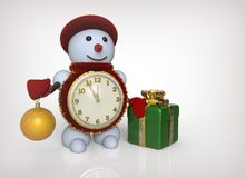 3D rendering snowman with clock. gifts on a white background Royalty Free Stock Images