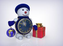 3D rendering snowman with clock. gifts on a white background Royalty Free Stock Photography