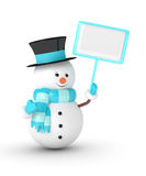 3d rendering of snowman holding a blank board over white. 3d rendering of snowman holding a blank board  isolated over white background Royalty Free Stock Images