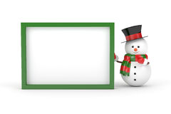 3d rendering of snowman holding a blank board over white. 3d rendering of snowman holding a blank board  isolated over white background Stock Photography