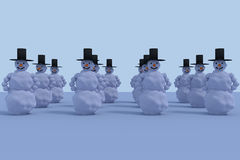 3D rendering of 12 snowmen. On a sunny morning Royalty Free Stock Photos