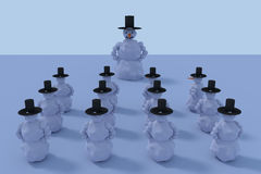 3D rendering of snowmen and their big boss. 3D rendering of 12 snowmen on a sunny morning and their big boss Stock Images