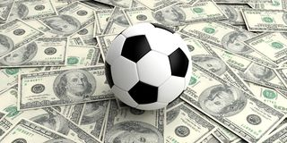 3d rendering soccer ball on100 dollars banknotes. Background Stock Images