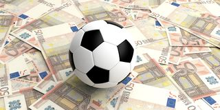3d rendering soccer ball on 50 euros banknotes Stock Photography