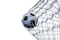3d rendering soccer ball in goal in motion. Soccer ball in net in motion isolated on white background. Success concept. 3d rendering soccer ball in goal in Royalty Free Stock Image