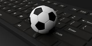 3d rendering soccer ball on a keyboard Royalty Free Stock Photography