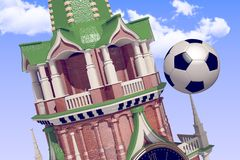 3d rendering the soccer ball near Moscow Kremlin. Russia, Moscow, 2018 year.3d rendering the soccer ball fly near Moscow Kremlin. Useful for any graphics design Stock Photo