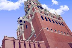 3d rendering the soccer ball near Moscow Kremlin. Russia, Moscow, 2018 year.3d rendering the soccer ball fly near Moscow Kremlin. Useful for any graphics design Stock Images