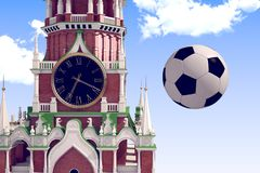 3d rendering the soccer ball near Moscow Kremlin. Russia, Moscow, 2018 year.3d rendering the soccer ball fly near Moscow Kremlin. Useful for any graphics design Royalty Free Stock Images