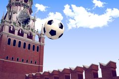 3d rendering the soccer ball near Moscow Kremlin. Russia, Moscow, 2018 year.3d rendering the soccer ball fly near Moscow Kremlin. Useful for any graphics design Stock Photos