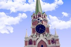3d rendering the soccer ball near Moscow Kremlin. Russia, Moscow, 2018 year.3d rendering the soccer ball fly near Moscow Kremlin. Useful for any graphics design Royalty Free Stock Photography