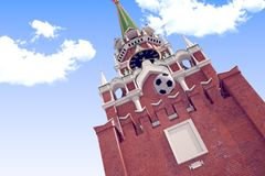 3d rendering the soccer ball near Moscow Kremlin. Russia, Moscow, 2018 year.3d rendering the soccer ball fly near Moscow Kremlin. Useful for any graphics design Royalty Free Stock Image