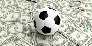 3d rendering soccer ball on one dollar banknotes royalty free illustration