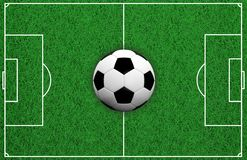 3d rendering soccer ball on soccer field Royalty Free Stock Images