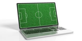 3d rendering soccerball field on a laptop Royalty Free Stock Photos