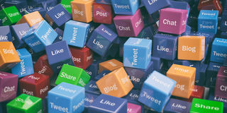 3d rendering social media words cubes Stock Images