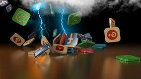 3d rendering social networking icons Stock Photography