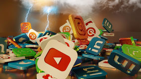 3d rendering social networking icons Stock Photo