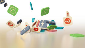 3d rendering social networking icons Stock Images