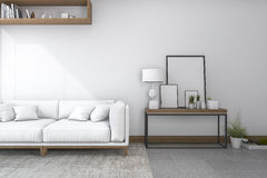 3d rendering sofa in white living room with beautiful decor Stock Images